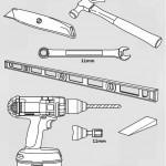 Narzędzia potrzebne do przymocowania prowadnic pionowych do ściany oraz kolejnych paneli bramy: