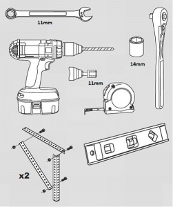 Narzędzia potrzebne do przymocowania prowadnic poziomych do sufitu: